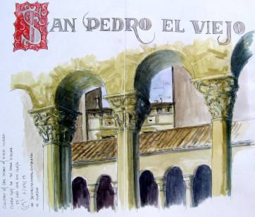 San Pedro el Viejo. Huesca. Inc & Watercolor