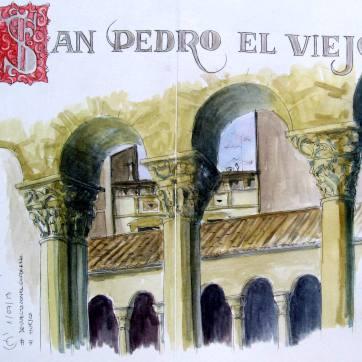 San Pedro el Viejo. Huesca. Inc & Watercolor