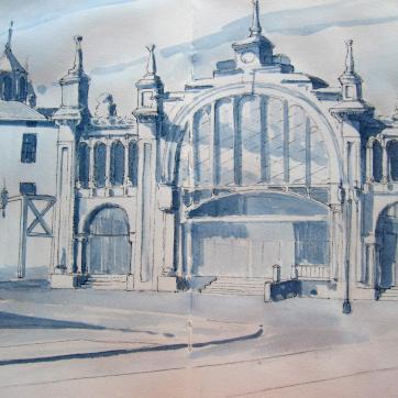 Mercado Central. Zaragoza. Inc & Watercolor