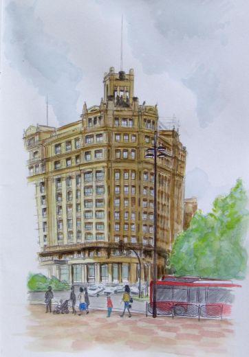 Edificio cines. Ink & Watercolor
