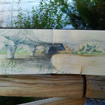 Rio Ebro. Zaragoza. Watercolor