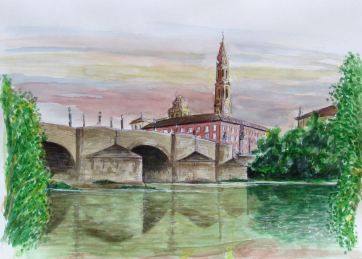 Puente de Piedra. Zaragoza. Watercolor. Watercolor