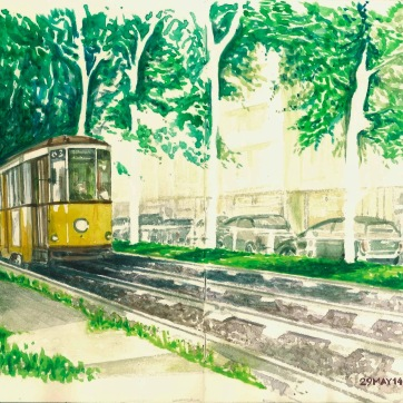 Tranvia. Milan. Watercolor