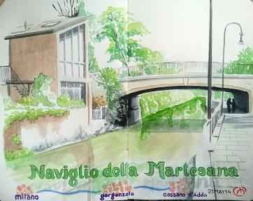 Naviglio Martesana. Bic & Watercolor