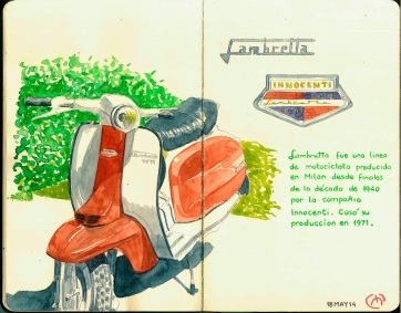 Lambretta. Milan. Watercolor