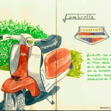 Lambretta. Milan. Watercolor