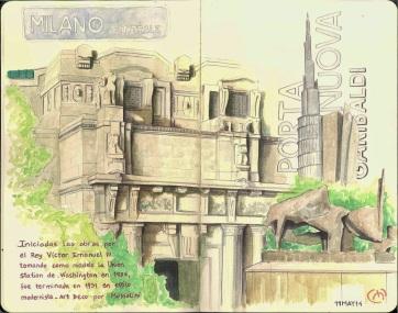 Centrale. Milan. Watercolor