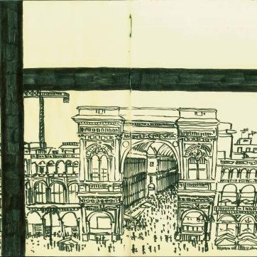 Piazza Duomo. Milan. Ink