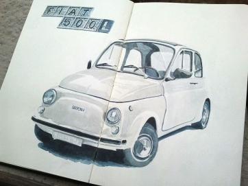 Fiat 500. Milan. Watercolor