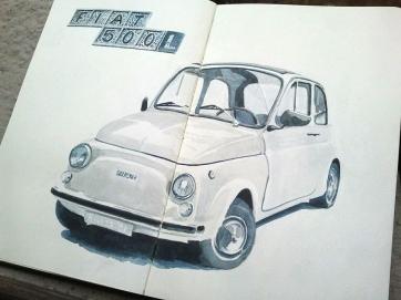 Fiat 500. Milan. Watercolor