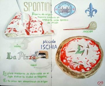 Estudio Pizza italiana. Bic & Watercolor
